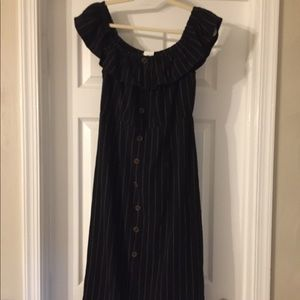 Black striped off the shoulder dress new w/ tags